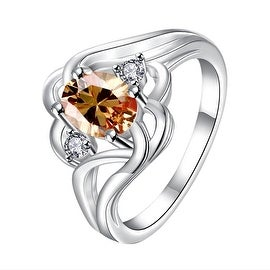 Orange Citrine Spiral Quad Design Classic Ring