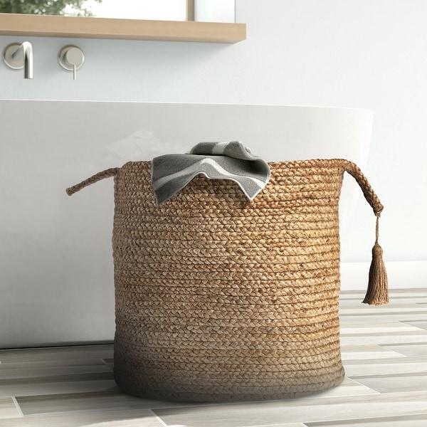 "LR Home Montego Solid Natural Jute Decorative Storage Basket (19 in.) - 19"" x 19"" x 19"". Opens flyout."
