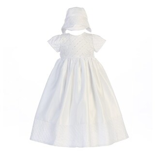 Baby Girls White Sequin Bead Embroidered Satin Hat Baptism Dress