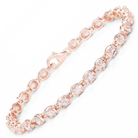 Malaika 3.90 Carat Genuine Morganite .925 Sterling Silver Bracelet