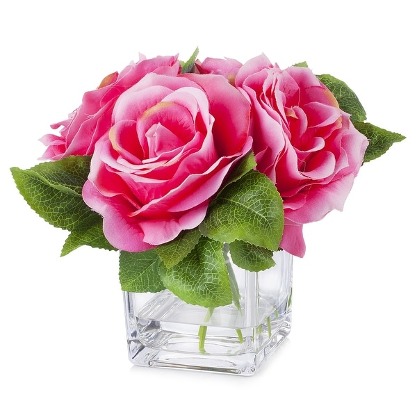 Enova Home 4 Large Heads Velvet Rose Flower in Cube Glass Vase With Faux Water For Home Decoration. Opens flyout.