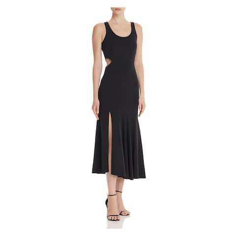 WAYF Womens Black Sleeveless Midi Fit + Flare Evening Dress Size M