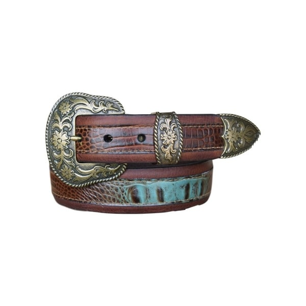 Vintage Bison Western Belt Mens Wichita Leather Saddle Turq