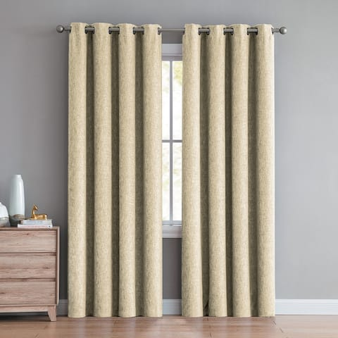 "Jeremy Textured Room Darkening Window Curtain Panel Pair 84"" or 96"""