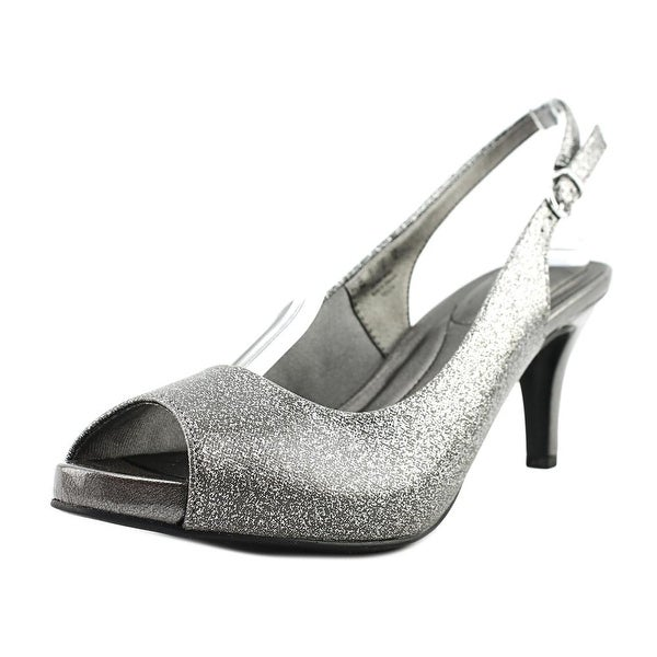 Life Stride Teller Women Peep-Toe Synthetic Gray Slingback Heel