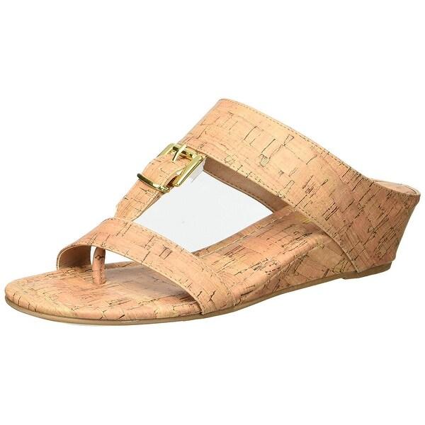 629d16a34c Shop Rampage Women's Senorita Cork Demi-Wedge T-Strap Thong Sandal ...