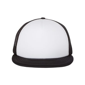 290101d6ab651 Shop Foam Front Flat Bill Trucker Cap - White  Black - One Size - Free  Shipping On Orders Over  45 - Overstock - 16246927