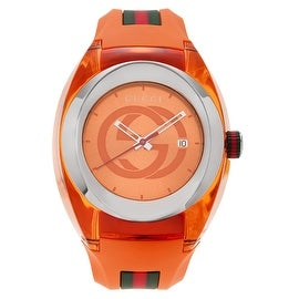 Gucci Men's YA137108 'Sync XXL' Orange Quartz Rubber Strap Watch