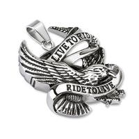 """Live to Ride Ride to Live"" Eagle Stainless Steel Pendant (33 mm Width)"