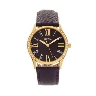 Bertha Sadie Leather-Band Watch - Purple