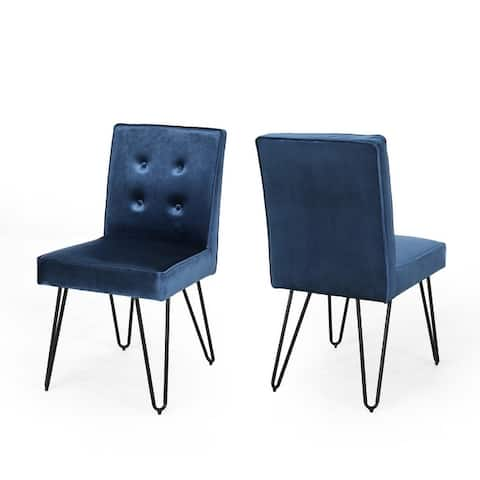 Carlstad Glam Tufted Velvet Dining Chairs (Set of 2) by Christopher Knight Home - N/A