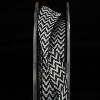 Woven Black and White Chevron Wired Craft Ribbon 22mm x 108 Yards
