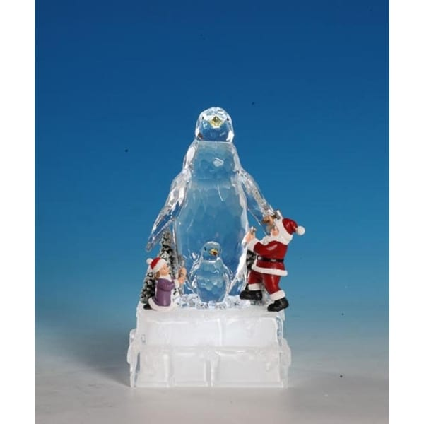 """Pack of 2 Icy Crystal Decorative Illuminated Christmas Penguin Ice Sculptures 8"""""""