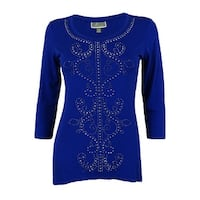 JM Collection Women's 3/4 Sleeve Studded Tunic Top - Bright blue