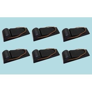 6 Door Wedge Solid Mango Wood Leather Hanging Loop Black
