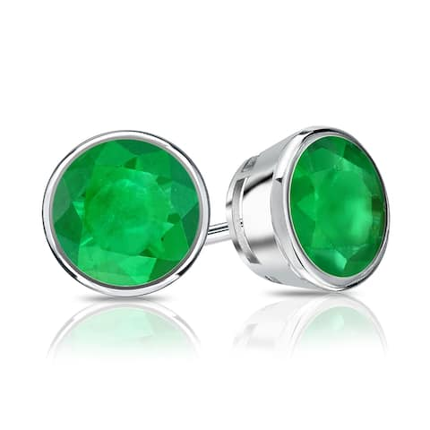 Auriya 14k Gold 1ctw Bezel-set Emerald Gemstone Stud Earrings