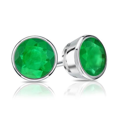 Auriya 14k Gold 2/5ctw Bezel-set Emerald Gemstone Stud Earrings