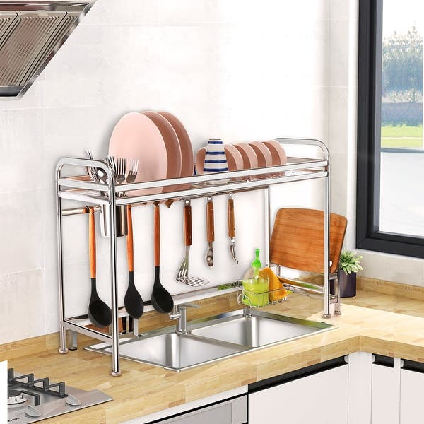 Dish Rack Over Sink For Kitchen Organizer Stainless Steel S Overstock 31930287