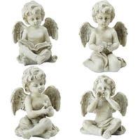 """Set of 4 Gray Cherub Angel Outdoor Garden Statues 6.5"""""""