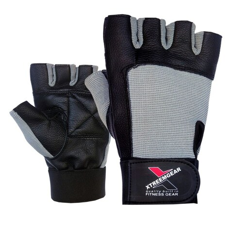 Weight Lifting Gloves Leather Fitness Training Gym Straps Workout Black/Grey G2G - Black