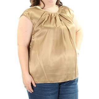 KASPER $52 Womens New 1309 Gold Cap Sleeve Jewel Neck Casual Top 2X B+B