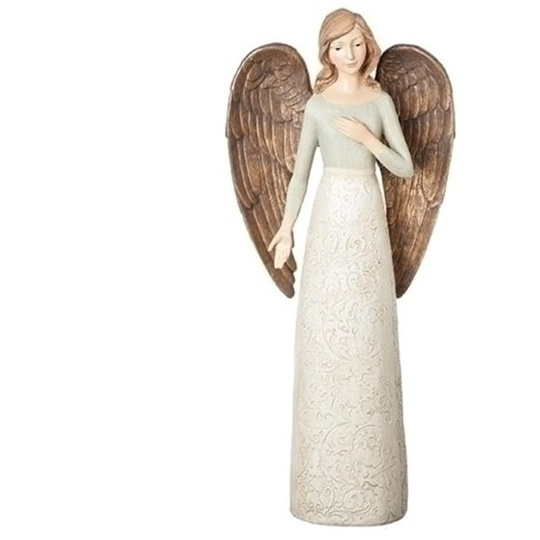 "17.5"" Versailles Large Ivory-Blue Angel Figure - WHITE"