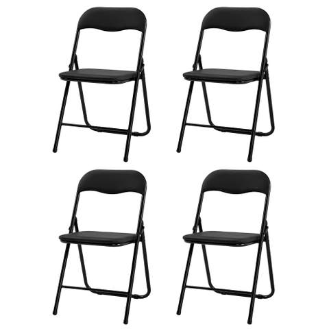Camel Chair With 4 Foldable Leather Square Backrests Black
