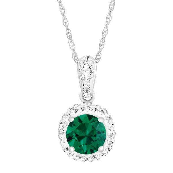 Crystaluxe May Pendant with Green Swarovski Crystals in Sterling Silver