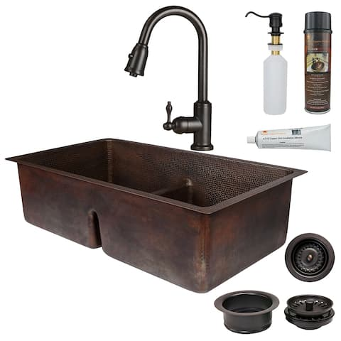Premier Copper Products KSP2_K50DB33199-SD5 Kitchen Sink, Pull Down Faucet and Accessories Package