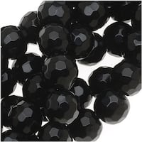 Black Agate Faceted Round Gemstone Beads 6mm - 15 Inch Strand