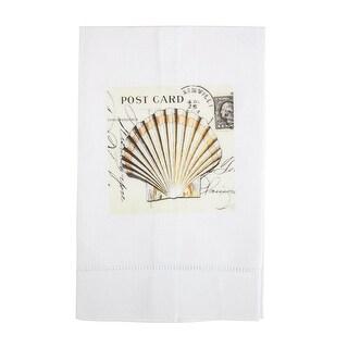 Sepia Toned Seashells Printed Linen Tea Towel and Set - Design A