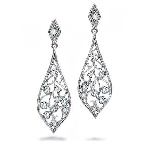 Bridal Teardrop Shaped Cubic Zirconia Dangle CZ Filigree Dangle Earrings For Women Prom 925 Sterling Silver