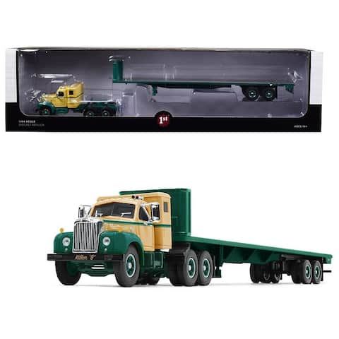 Mack B-61 Sleeper Cab with 48\' Flatbed Trailer Killer B Green and Beige 1/64 Diecast Model by First Gear