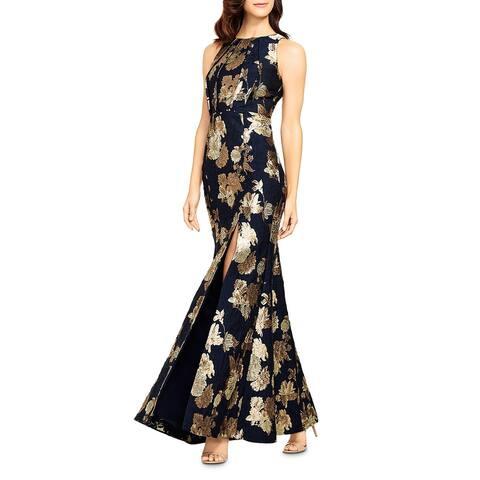 Aidan Mattox Womens Evening Dress Jacquard Metallic - Navy Multi