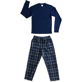 Men's 2 PC Thermal Top & Fleece Lined Pants Pajamas Set (Navy)