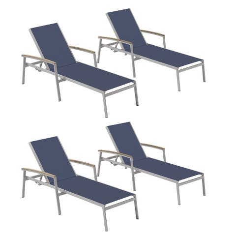 Oxford Garden Travira Chaise Lounge with Tekwood Vintage Armcaps (Set of 4)