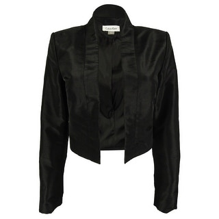 Calvin Klein Women's Open Front Cropped Jacket - Black