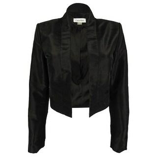 Calvin Klein Women's Open Front Cropped Jacket - Black