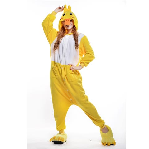 Unisex Adult Pajamas Cosplay Costume Animal one-piece Sleepwear Suit - Yellow - L