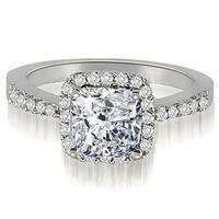 1.00 cttw. 14K White Gold Cushion And Round Shape Halo Diamond Engagement Ring