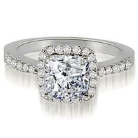 1.25 cttw. 14K White Gold Cushion And Round Shape Halo Diamond Engagement Ring