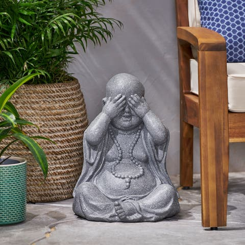 Harrod Outdoor Cast Stone Outdoor See No Evil Monk Garden Statue by Christopher Knight Home