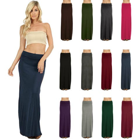 NioBe Clothing Womens Solid Long Casual Maxi Skirt