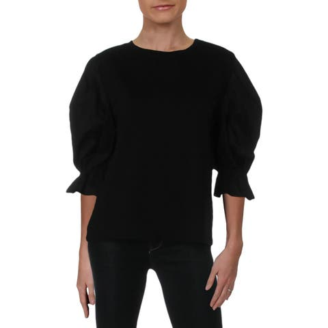 Michelle by Comune Womens Blouse Poplin 3/4 Sleeves - M