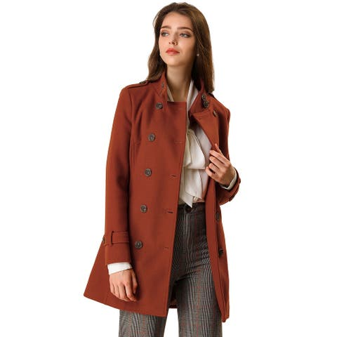 Women's Winter Stand Collar Double Breasted Outwear Trench Coat