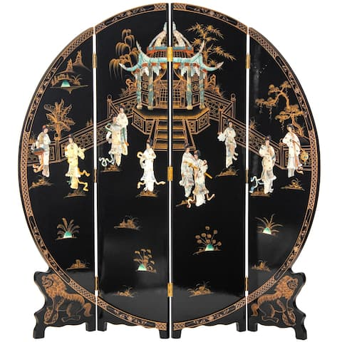 6 ft. Tall Black Lacquer Round Room Divider - Royal Ladies