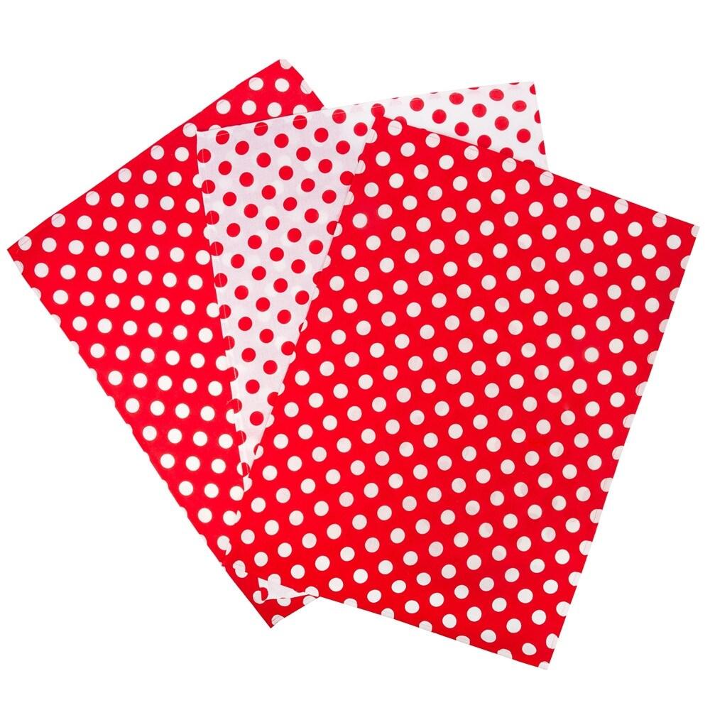 STP Goods 100% Cotton Asst Red Polka Dot Kitchen Towel Set of 3 - 19.7x27.6