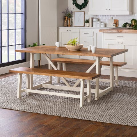 The Gray Barn 3-Piece Solid Wood Trestle Dining Set