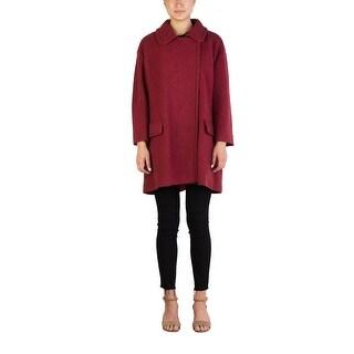 Miu Miu Women's Virgin Wool Single Breasted Tweed Trench Coat Red - 44