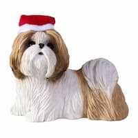 Gold And White Shih Tzu With Santa Hat Christmas Ornament Sculpture